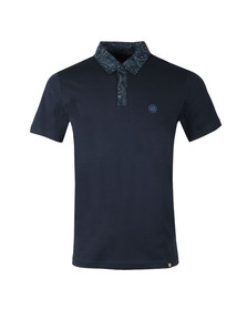 Pretty Green Mens Blue Paisley Print Collar Polo
