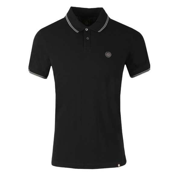 Pretty Green Mens Black Tipped Pique Polo Shirt main image