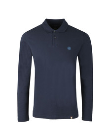 Pretty Green Mens Blue LS Pique Polo