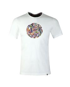 Pretty Green Mens White Paisley Print Logo T-Shirt