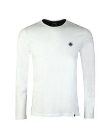 Pretty Green Mens White LS Cotton T-Shirt