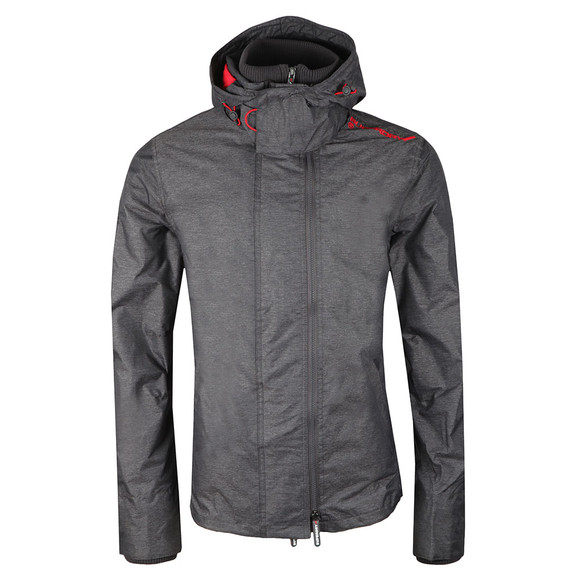 Superdry Mens Grey Tech Hood Pop Zip Windcheater main image