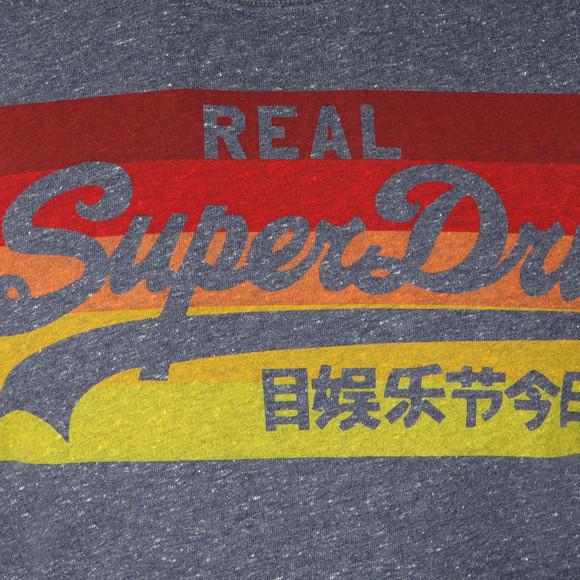 Superdry Mens Blue Vintage Logo Cali Stripe Tee main image