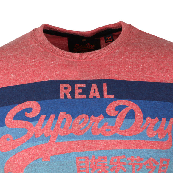 Superdry Mens Red Vintage Logo Cali Stripe Tee main image