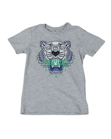 Kenzo Kids Boys Grey Boys Tiger Print T Shirt