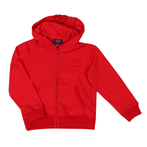 Paul & Shark Cadets Boys Red Tonal Logo Full Zip Hoody main image