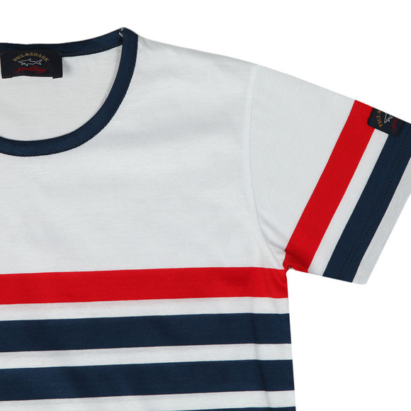 Paul & Shark Cadets Boys White Stripe T Shirt main image