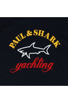Paul & Shark Cadets Boys Blue Large Logo Crew T Shirt