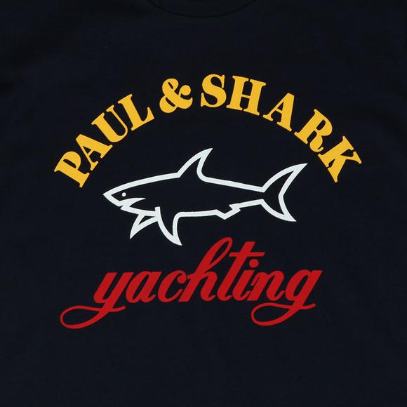 Paul & Shark Cadets Boys Blue Large Logo Crew T Shirt main image