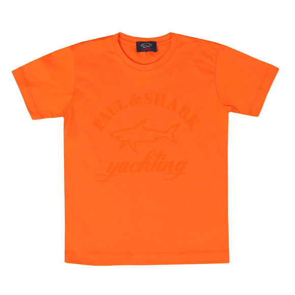Paul & Shark Cadets Boys Orange Large Logo Crew T Shirt