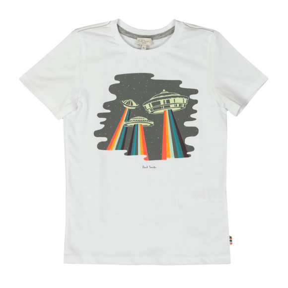 Paul Smith Junior Boys White Glow In The Dark UFO T Shirt
