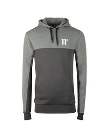 Eleven Degrees Mens Grey Block Logo Hoodie