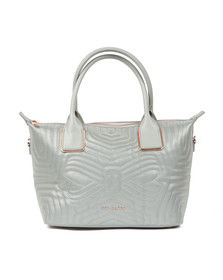 Ted Baker Womens Silver Carisee Small Reflective Quilted Tote Bag
