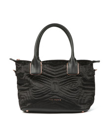 Ted Baker Womens Black Akebia Quilted Bow Small Nylon Tote