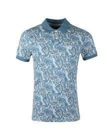 Pretty Green Mens Blue Pique Paisley Print Polo Shirt