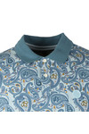 Pretty Green Mens Blue Pique Paisley Print Polo Shirt