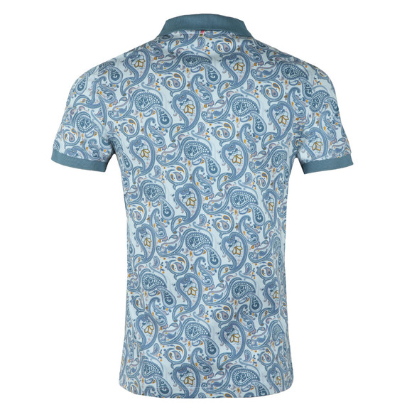 Pretty Green Mens Blue Pique Paisley Print Polo Shirt main image