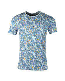Pretty Green Mens Blue Paisley Print T-Shirt