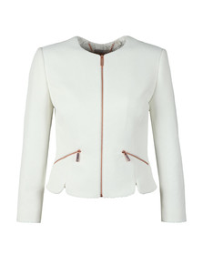 Ted Baker Womens White Hapar Shaped Hem Zip Pocket Jacket