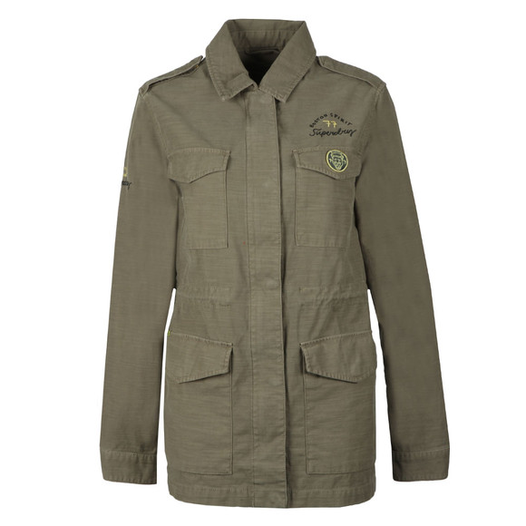 Superdry Womens Green Slub 4 Pocket Rookie Jacket main image