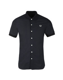 Fred Perry Mens Blue S/S Knitted Collar Shirt