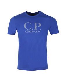 C.P. Company Mens Blue Reflective Large Logo T Shirt