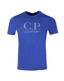 CP Company Mens Blue Reflective Large Logo T Shirt