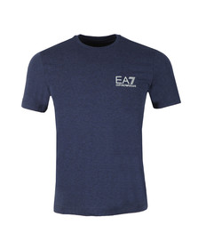 EA7 Emporio Armani Mens Blue Small Metallic Logo T Shirt