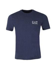 EA7 Emporio Armani Mens Blue Small Metallic Logo T Shirt