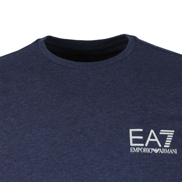 EA7 Emporio Armani Mens Blue Small Metallic Logo T Shirt main image
