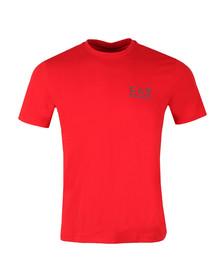 EA7 Emporio Armani Mens Red Small Metallic Logo T Shirt