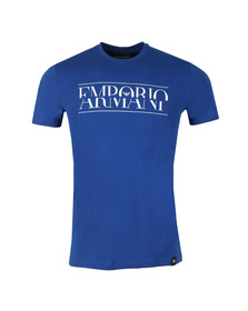 Emporio Armani Mens Blue Large Chest Logo T-Shirt