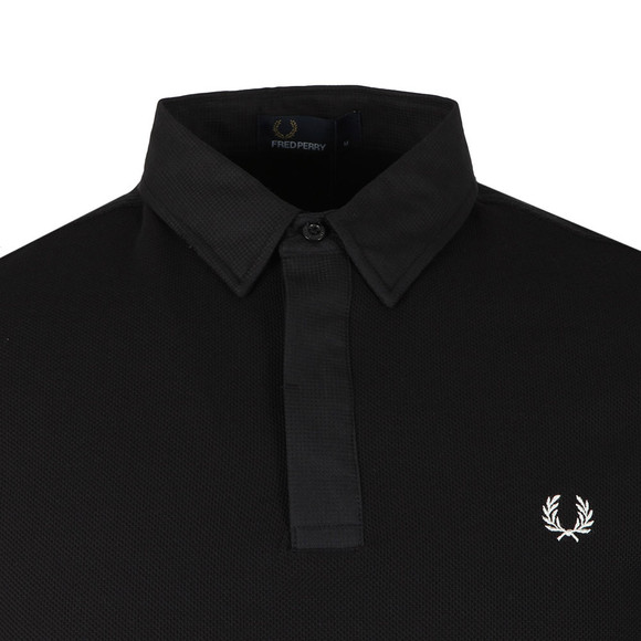 Fred Perry Mens Black Waffle Collar Pique Polo Shirt main image