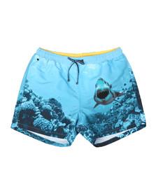 Boss Mens Blue Swordfish Shark Print Swim Shorts
