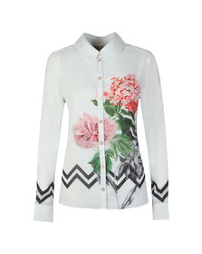 Ted Baker Womens White Giada Palace Gardens Long Sleeve Shirt