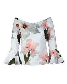 Ted Baker Womens White Veleita Chatsworth Bloom Bell Sleeve Top