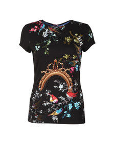 Ted Baker Womens Black Raynee Opulent Fauna Fitted Tee