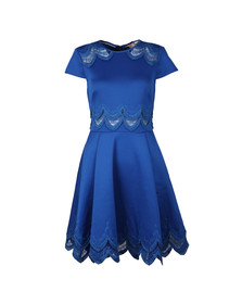 Ted Baker Womens Blue Rehanna Embroidered Cap Skater Dress