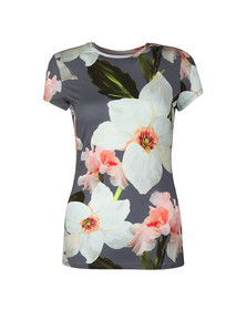 Ted Baker Womens Grey Elijae Chatsworth Bloom Fitted Tee