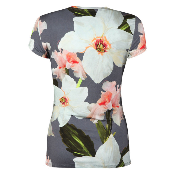 Ted Baker Womens Grey Elijae Chatsworth Bloom Fitted Tee main image