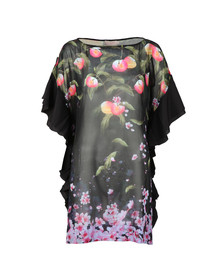 Ted Baker Womens Black Twisela Peach Blossom Square Cover Up