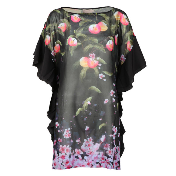 Ted Baker Womens Black Twisela Peach Blossom Square Cover Up main image
