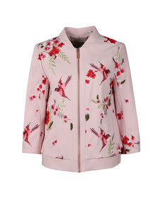 Ted Baker Womens Pink Leelah Bird and Blossom Spring Bomber Jacket