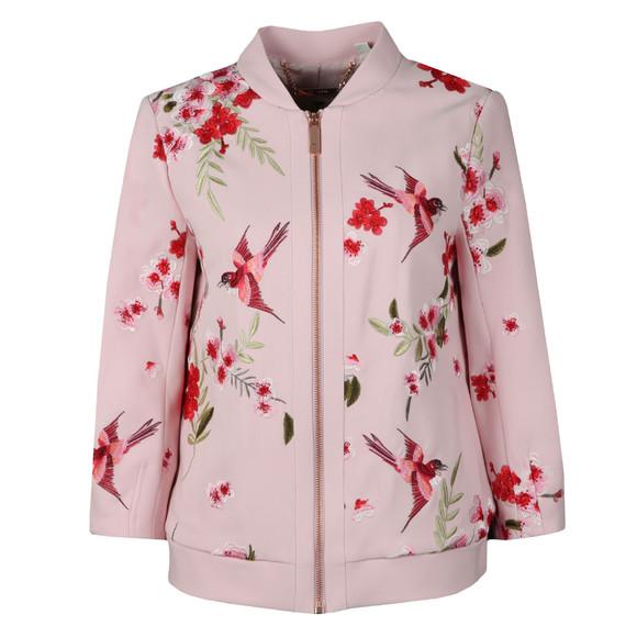 Ted Baker Womens Pink Leelah Bird and Blossom Spring Bomber Jacket main image
