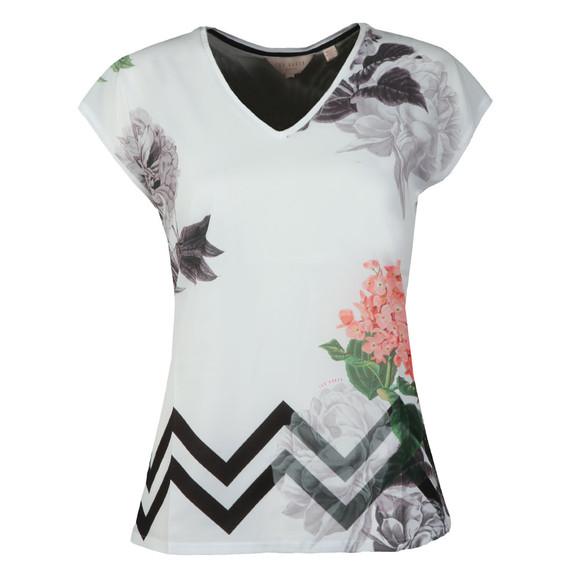 Ted Baker Womens White Neeomy Palace Gardens Woven Front Tee main image