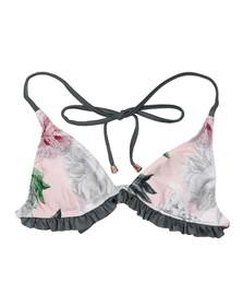 Ted Baker Womens Grey Elessi Palace Gardens Ruffle Bikini Top