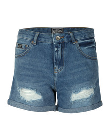 Superdry Womens Blue Steph Boyfriend Short