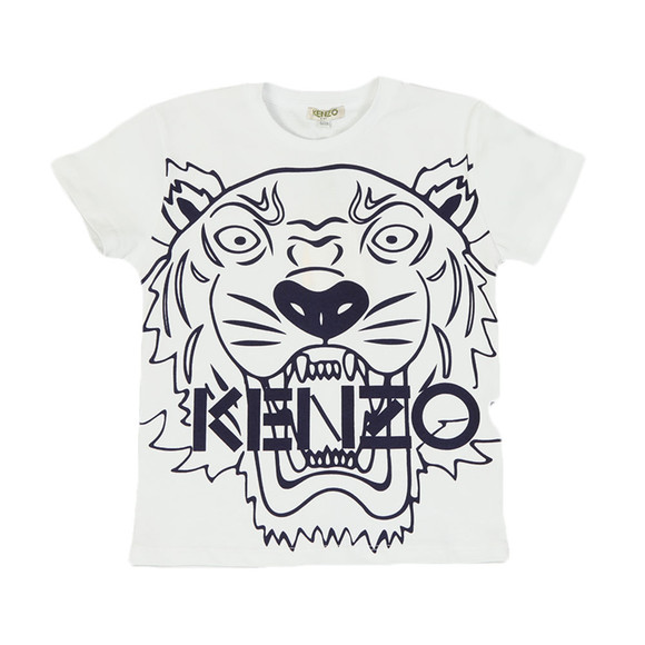 Kenzo Kids Boys White Boys Large Tiger Printed T Shirt main image