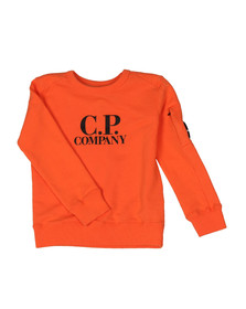 CP Company Undersixteen Boys Orange Logo Viewfinder Sleeve Fleece Sweatshirt