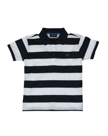 Paul & Shark Cadets Boys Blue Block Stripe Polo Shirt